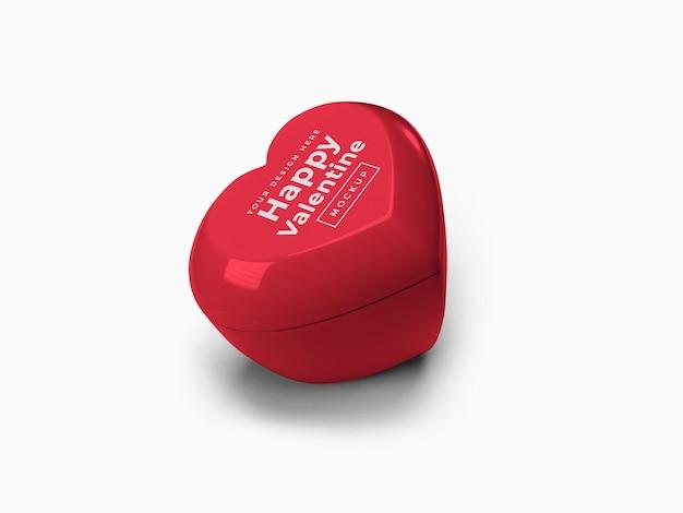 Conteneur de coeur d'amour de saint-valentin avec conception de maquette de couvercle isolé