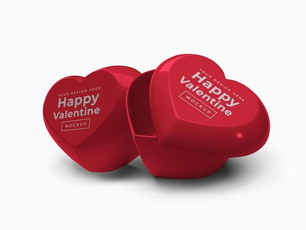 Conteneur de coeur d'amour de la saint-valentin avec maquette de couvercle