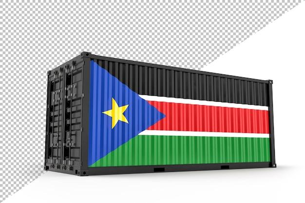 Conteneur d'expédition réaliste texturé avec le drapeau du soudan du sud. isolé. rendu 3d