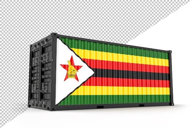 Conteneur d'expédition réaliste texturé avec le drapeau du zimbabwe. isolé. rendu 3d