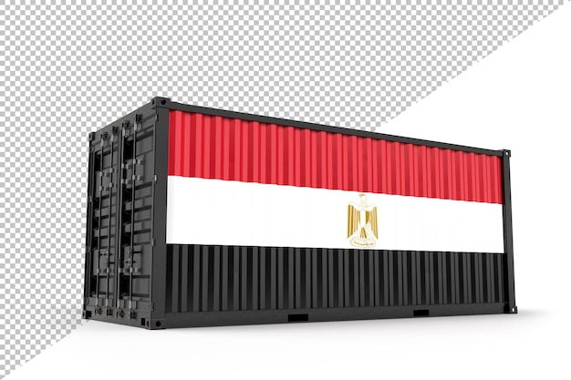 Conteneur d'expédition réaliste texturé avec le drapeau de l'égypte. isolé. rendu 3d