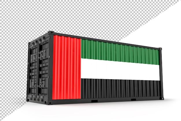 Conteneur d'expédition réaliste texturé avec le drapeau de l'état de palestine. isolé. rendu 3d