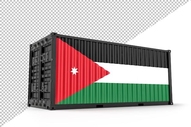 Conteneur d'expédition réaliste texturé avec le drapeau de la jordanie. isolé. rendu 3d
