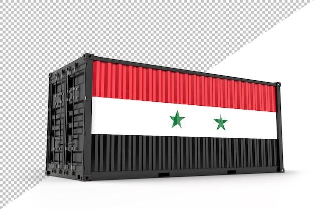 Conteneur d'expédition réaliste texturé avec le drapeau de la syrie. isolé. rendu 3d