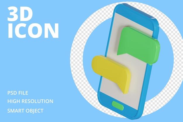 Conversation de messagerie dans l'icône 3d de téléphone portable