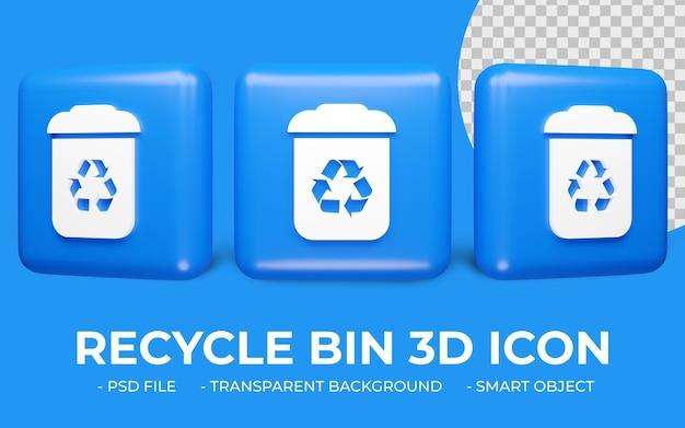 Corbeille ou recyclage icône verte rendu 3d isolé