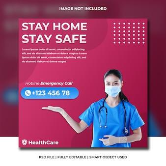 Corona virus prevention health medical covid19 information for social media flyer template
