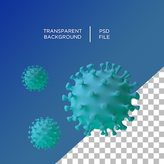 Coronavirus 3d sur fond transparent