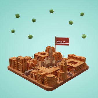 Coronavirus city 3d building on table