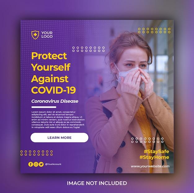 Coronavirus ou covid-19 avertissement modèle de publication de bannière instagram de médias sociaux ou flyer carré