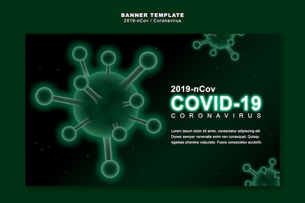 Coronavirus ou covid-19 concept, modèle de bannière