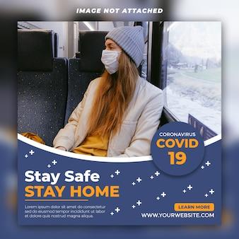 Coronavirus médias sociaux post psd