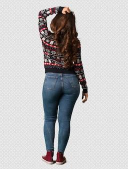 Corps complet, jeune femme, porter, jersey, noël, derrière