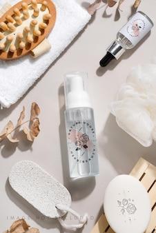 Cosmétiques naturels de spa et concept de traitement biologique pour la peau sur fond gris