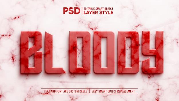 Couche réaliste de granit de marbre de sang rouge 3d style de couche modifiable effet de texte d'objet intelligent