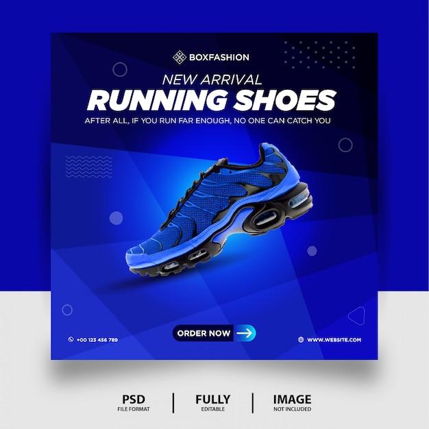 Couleur bleue chaussures de course marque produit social media post banner