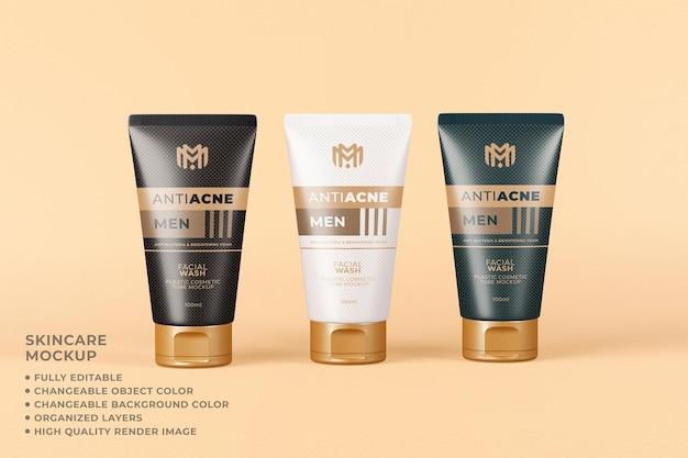 Couleur modifiable de soins de la peau d'emballage de maquette de tube cosmétique
