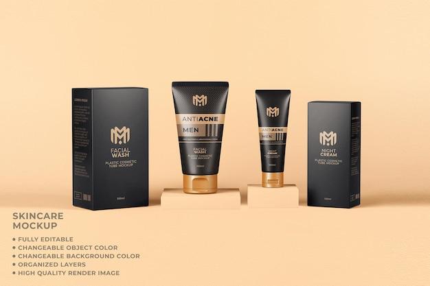 Couleur modifiable de soins de la peau de tube d'emballage de maquette cosmétique