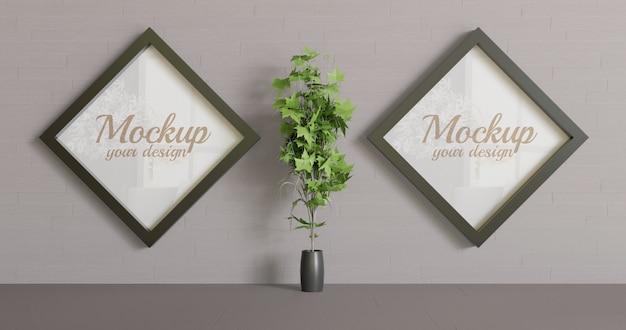 Couple cadre losange noir maquette sur le mur. maquette à deux cadres