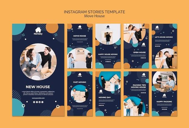 Couple en mouvement et avoir un nouveau départ des histoires instagram