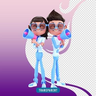 Couple de personnages 3d avec mégaphone