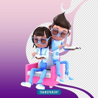 Couple de personnages de rendu 3d lisant un livre