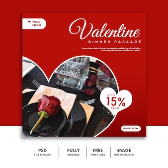 Couple valentine bannière social media post instagram red rose
