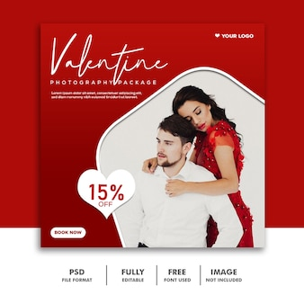 Couple valentine bannière social media post instagram red sale