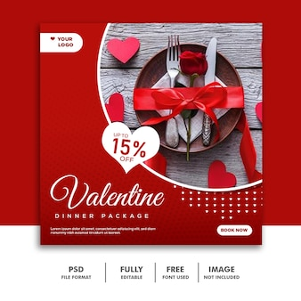 Couple valentine bannière social media post instagram red special
