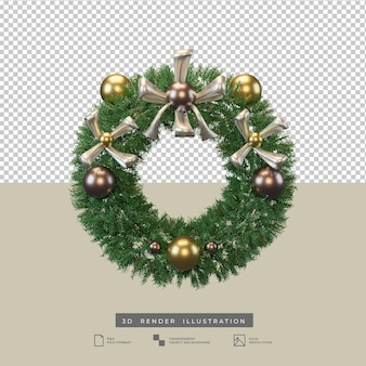 Couronne de noël réaliste avec arc métallique et décoration de boule illustration 3d