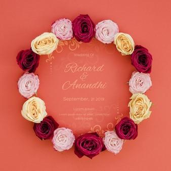 Couronne de roses sauvez la date