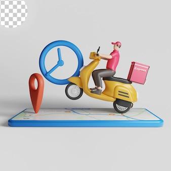 Courrier express sur commande d'expédition de scooter. psd premium