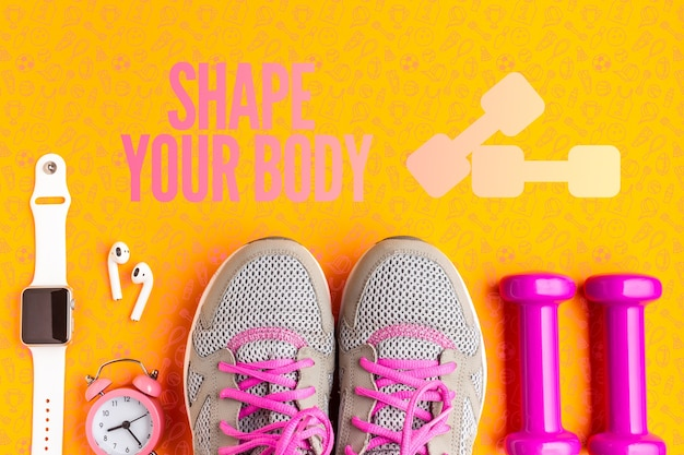 Cours d'équipement de fitness avec vue de dessus