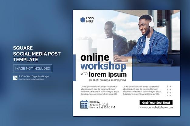 Cours en ligne et webinaire publication sur les réseaux sociaux ou modèle de bannière web square