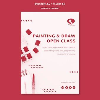 Cours de modèle d'affiche de dessin et de peinture
