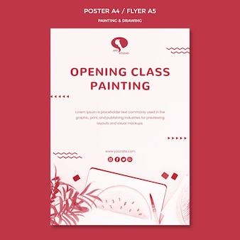 Cours d'ouverture pour le modèle d'affiche de dessin et de peinture