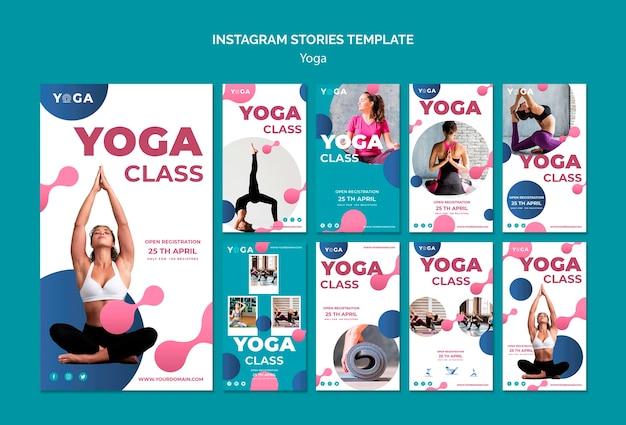 Cours de yoga pour le modèle d'histoires instagram