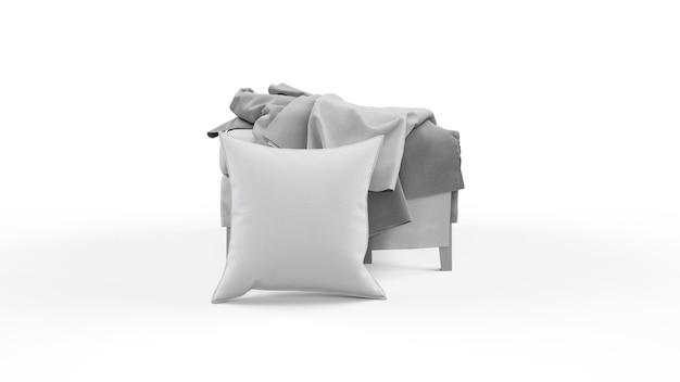 Coussin de couleur grise et morceaux de tissu isolé