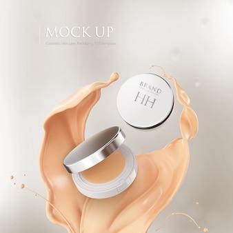 Coussin visage cas de fondation. maquette de maquillage en poudre compacte.