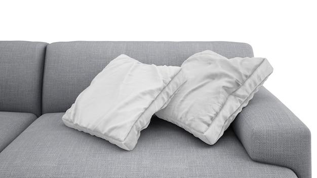 Coussins sur canapé gris isolé