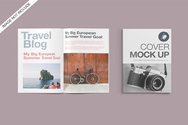 Couverture a4 et maquette de magazine ouverte vue d'angle supérieure psd premium