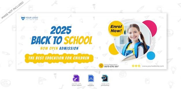 Couverture de la chronologie facebook de l'admission à l'éducation scolaire et modèle web