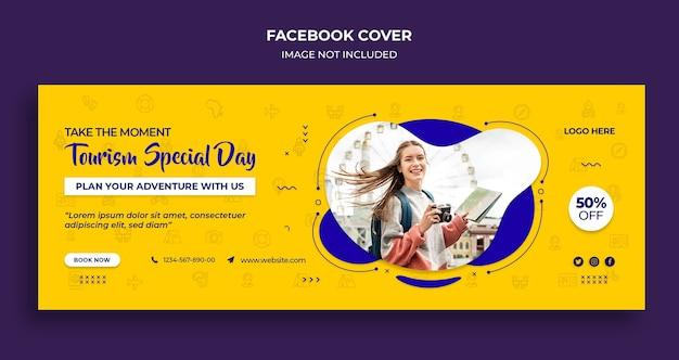 Couverture de la chronologie facebook de la journée spéciale du tourisme et modèle de bannière web