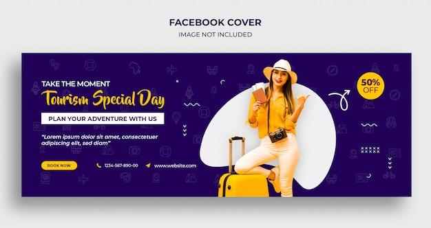 Couverture de la chronologie facebook de la journée spéciale du tourisme ou modèle d'en-tête et de bannière web
