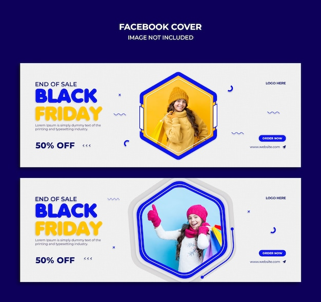 Couverture de la chronologie facebook de vente vendredi noir et modèle de bannière web