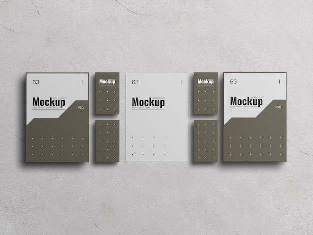 Couverture de dossier papier a4 avec maquette de carte de visite
