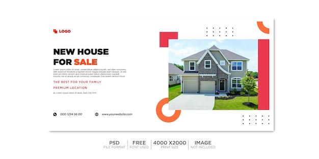 Couverture facebook et bannière web de la propriété immobilière