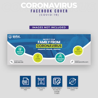 Couverture facebook de covid-19 et coronavirus