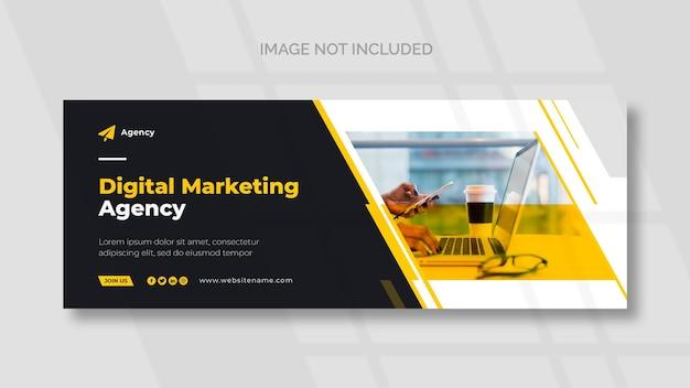 Couverture facebook de marketing numérique et modèle de bannière panoramique