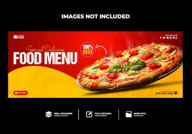 Couverture facebook menu du restaurant délicieuse pizza